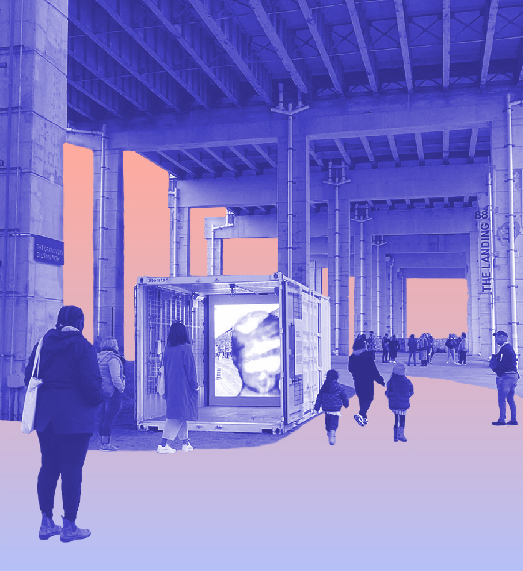 People viewing media installation that's inside a shipping containter under an underpass in Toronto, ON